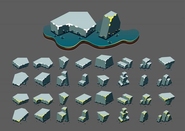 Pedras isométricas à noite para jogos de vídeo