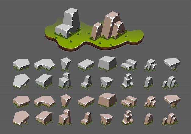 Pedras isométricas com grama para jogos de vídeo
