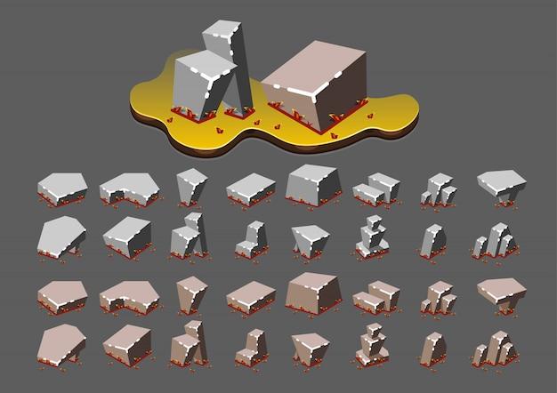 Pedras isométricas no outono para jogos de vídeo