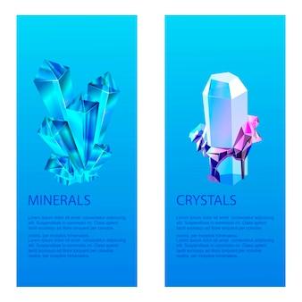 Pedras preciosas cristalinas minerais. cristais de vidro transparente