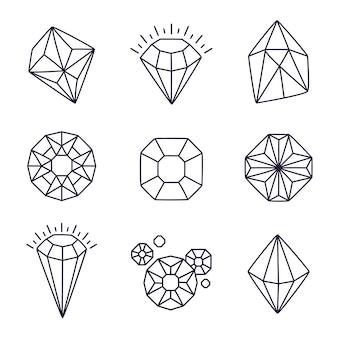 Pedras preciosas de doodle isoladas em branco