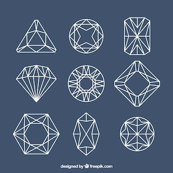 Pedras preciosas lineares com desenhos diferentes