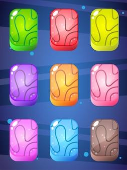 Pedras retangulares em muitas cores projetam brilhante e brilhante para o jogo de quebra-cabeça. Vetor Premium