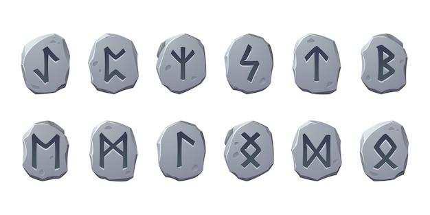 Pedras rúnicas com glifos sagrados para o design do jogo isolado no fundo branco conjunto de desenhos animados de um ...