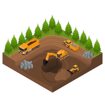 Pedreira de construção com escavadeiras e equipamentos vista isométrica engenharia transporte digger business. ilustração vetorial