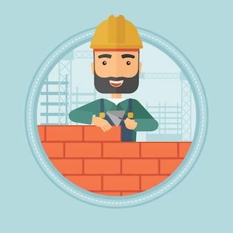 Pedreiro, construção, parede tijolo