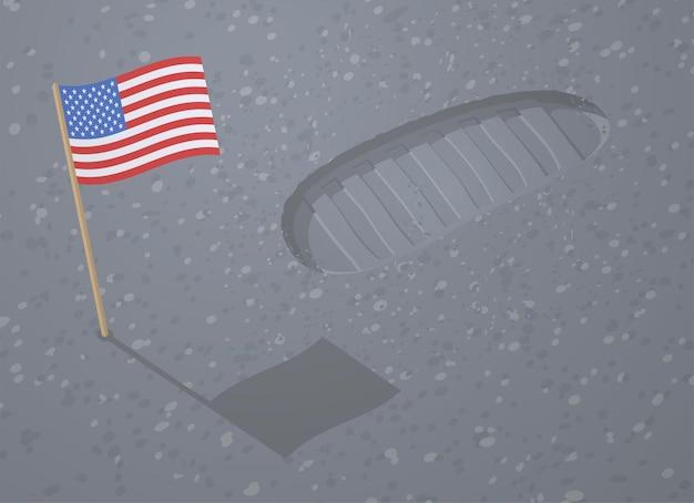 Pegada da bota do astronauta e bandeira americana na superfície da lua. primeira pegada do homem no espaço. bandeira dos desenhos animados de vetor dos eua e rastreamento de etapa do astronauta na areia do planeta alienígena. sapato de corrida de cosmonauta