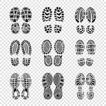 Pegada humana. botas para caminhada solas passos silhuetas vetor modelo impressão textura