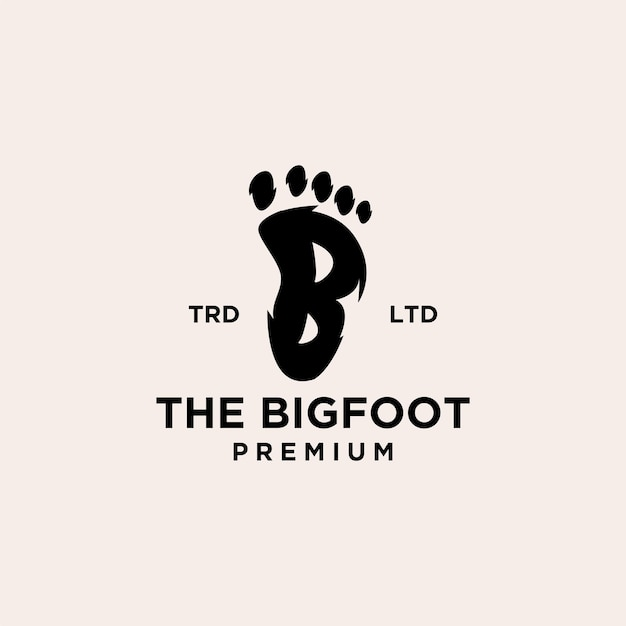 Pegada premium de yeti com design de ícone de logotipo preto de vetor inicial letra b