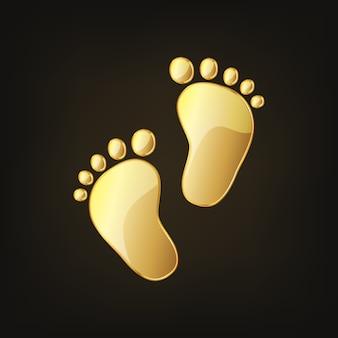 Pegadas de bebê dourado. ilustração vetorial