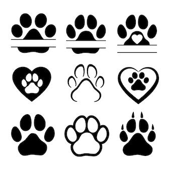 Pegadas de cães ou gatos. silhueta isolada do vetor.
