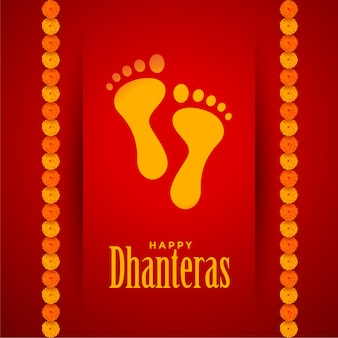 Pegadas de lord lakshami no festival de dhanteras