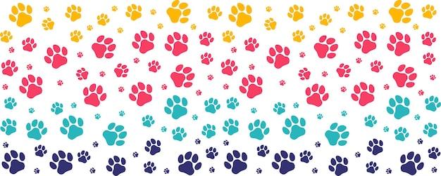 Pegadas de padrão colorido de um cão ou gato. vetor de silhueta isolada.