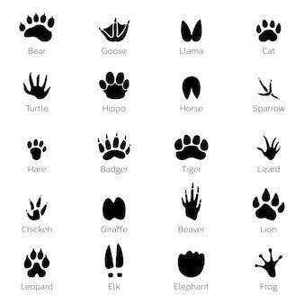 Pegadas diferentes de pássaros e animais. imagens monocromáticas de vetor no fundo branco