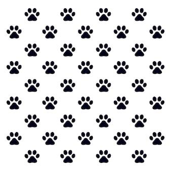 Pegadas padrão de um cão ou gato. vetor de silhueta isolada.