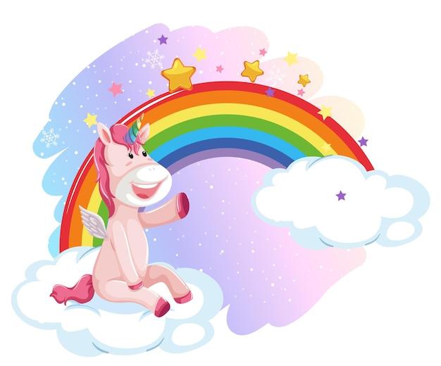 Pégaso fofo no céu pastel com arco-íris