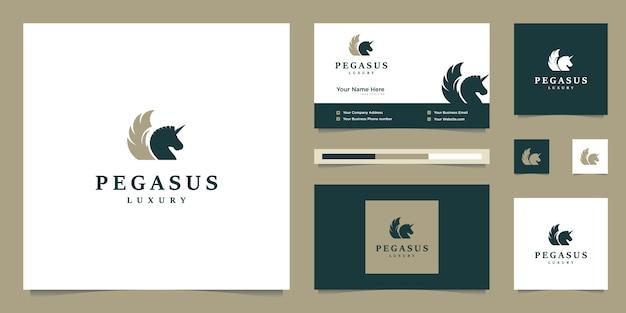 Pegasus elegante. cavalo premium minimalista. silhueta mítica de estilo pegasus, inspiração de design de logotipo premium.