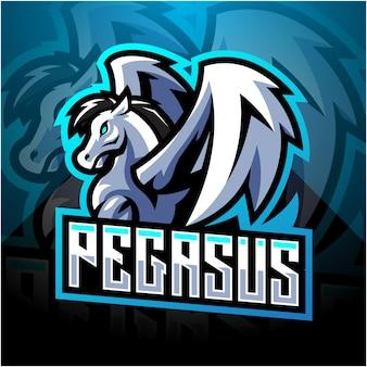 Pegasus esport mascote design de logotipo