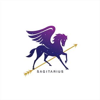Pegasus logo design horse vector