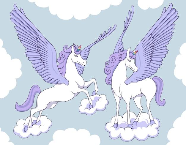 Pegasus roxo nas nuvens