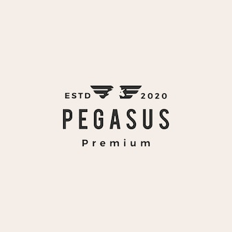 Pegasus unicórnio asa hipster logotipo vintage icon ilustração