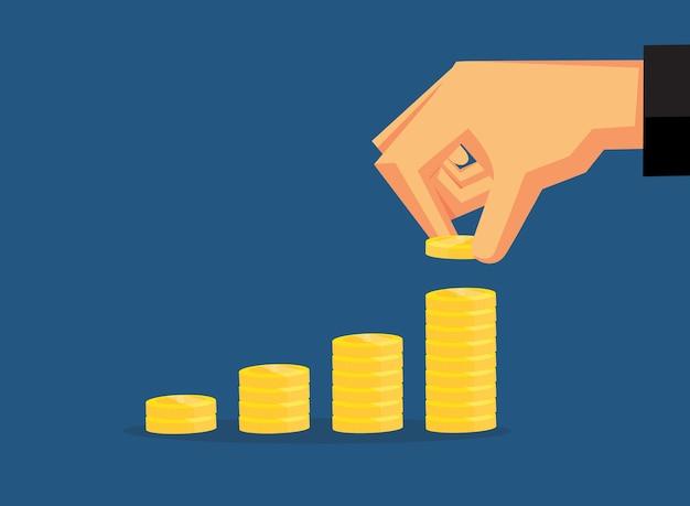 Pegue as moedas são organizadas em camadas