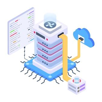 Pegue este ícone isométrico criativo de rede de computação em nuvem