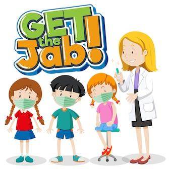 Pegue o banner da fonte jab com o médico e o personagem de desenho animado de muitas crianças