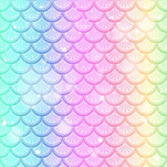 Peixe arco-íris pastel com escamas padrão sem emenda