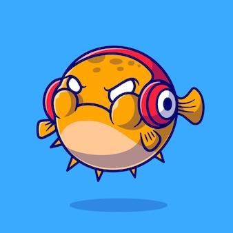 Peixe baiacu bonito com raiva e usando fone de ouvido dos desenhos animados do ícone do vetor. conceito de ícone de tecnologia animal isolado vetor premium. estilo flat cartoon