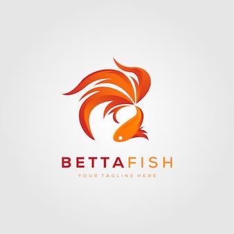 Peixe betta fogo design ilustração logotipo moderno