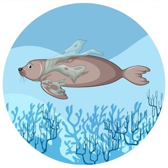 Peixe-boi e sacos de plástico debaixo d'água