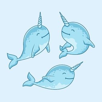 Peixe bonito narwhal cartoon sob conjunto de animais de água