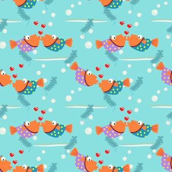 Peixe casal colorido está beijando o padrão sem emenda.