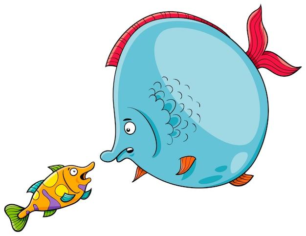 Peixe conversando ilustração dos desenhos animados
