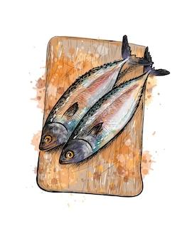 Peixe de arenque salgado em uma placa de corte de um toque de aquarela, esboço desenhado à mão. ilustração de tintas