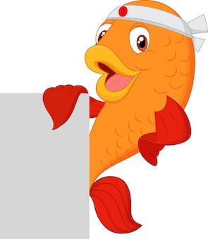 Peixe de chef dos desenhos animados segurando cartaz em branco