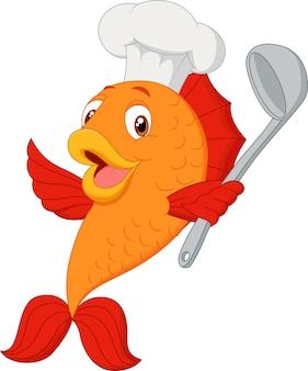 Peixe de chef dos desenhos animados segurando concha de sopa