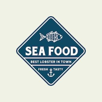 Peixe de frutos do mar para design de logotipo de linha de restaurante