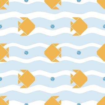 Peixe de origami de ouro sem costura com padrão de bolha de brilho azul
