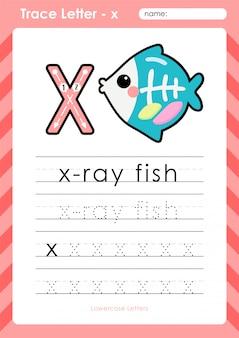 Peixe de raio-x: planilha de letras de rastreamento do alfabeto az - exercícios para crianças