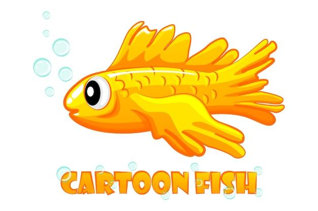 Peixe dourado de aquário de desenho animado em um branco