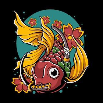 Peixe dourado japonês com katana na ilustração da boca