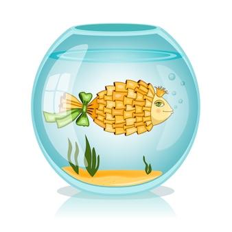 Peixe dourado na tigela