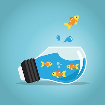 Peixe dourado pulando fora do bulbo de aquário