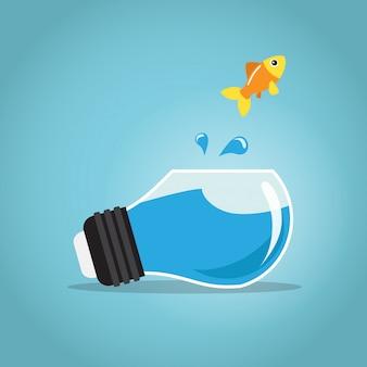Peixe dourado pulando fora do bulbo do aquário