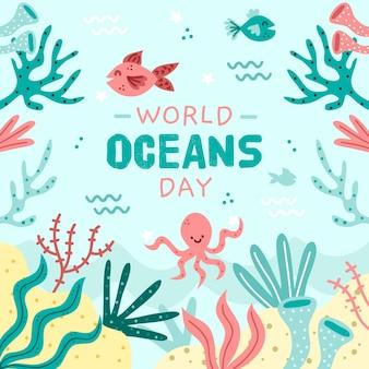 Peixe e polvo feliz mão dia dos oceanos desenhado