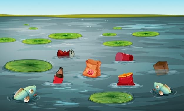 Peixe, em, água, poluição
