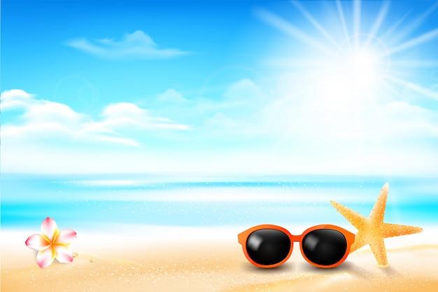 Peixe estrela de óculos de sol e flor na praia de areia