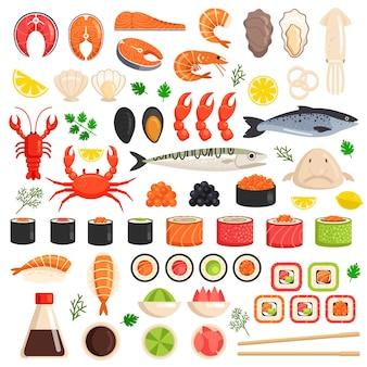 Peixe fresco cozido lagosta caranguejo lula moluscos mexilhões fatias atum salmão sushi ostra comida oceano marinho